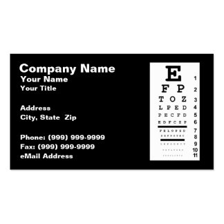 Eye Chart Against Black Background Business Card Template