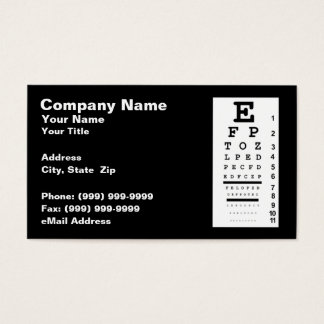 Eye Chart Against Black Background Business Card