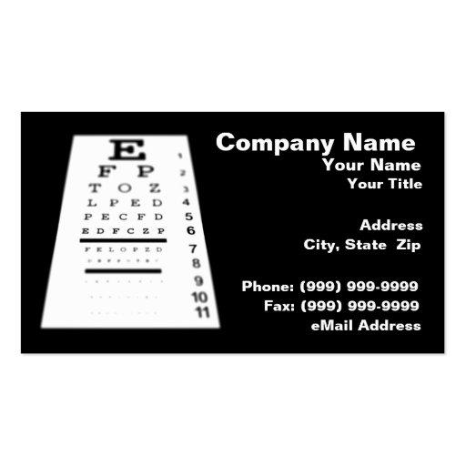 Eye Chart Angled Against Black Background Business Card