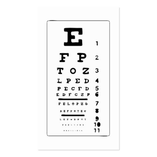 Eye Chart Business Card Templates