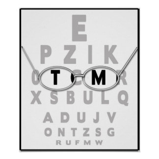 EYE CHART EXAM POSTER WITH GLASSES