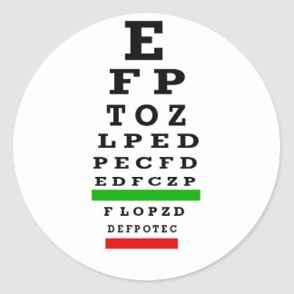 EYE CHART Gifts Classic Round Sticker
