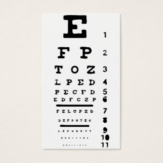 Eye Chart Vision Clinic Doctor Optician Business Business Card