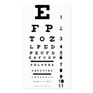 Eye Chart Vision Clinic Doctor Optician Business Double-Sided Standard Business Cards (Pack Of 100)