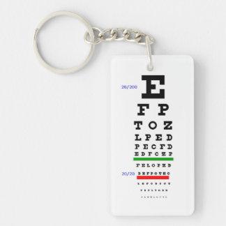 Eye Chart with Eyeballs background Double-Sided Rectangular Acrylic Keychain