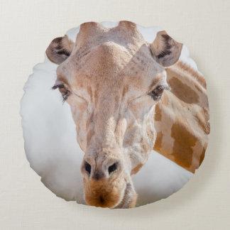 Eye contact with giraffe round pillow
