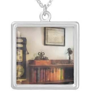 Eye Doctor's Office With Diploma Square Pendant Necklace