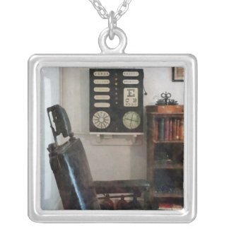 Eye Doctor's Office with Eye Chart Square Pendant Necklace