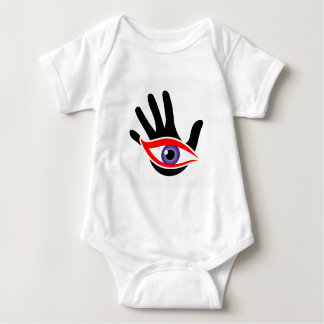 Eye emerging from a palm baby bodysuit