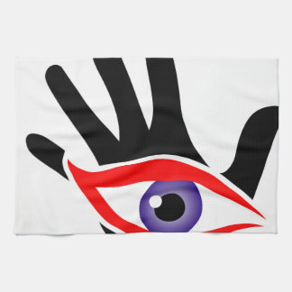 Eye emerging from a palm hand towel