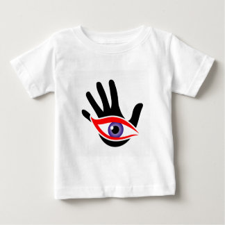 Eye emerging from a palm t-shirt