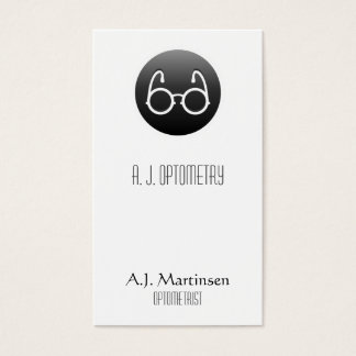 Eye Glasses on a Black Button Business Card
