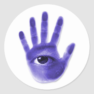 eye hand symbol classic round sticker