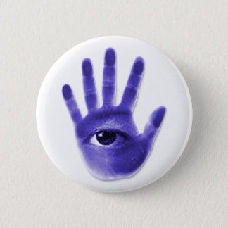 eye hand symbol pinback button