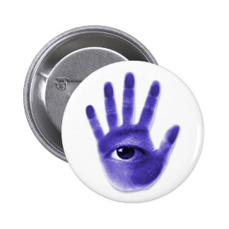 eye hand symbol pinback button