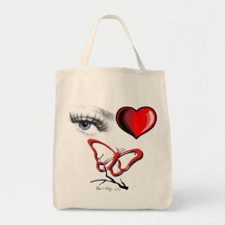 Eye Heart Butterfly Grocery Bag