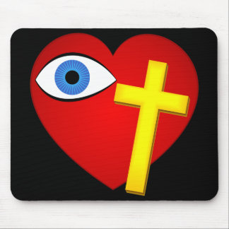 Eye Heart Cross Mouse Pad