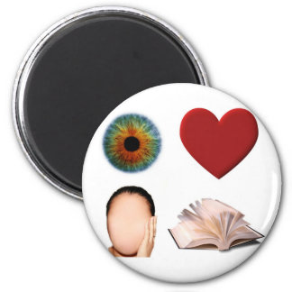 Eye Heart Face Book 2 Inch Round Magnet