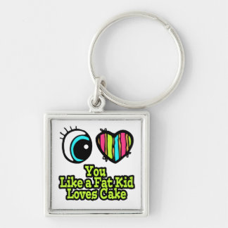 Eye Heart I Love You Like a Fat Kid Loves Cake Silver-Colored Square Keychain