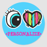 Eye Heart Pictogram, <PERSONALIZE> Round Stickers