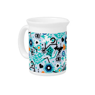 Eye heart pop art cool bright blue pattern drink pitcher