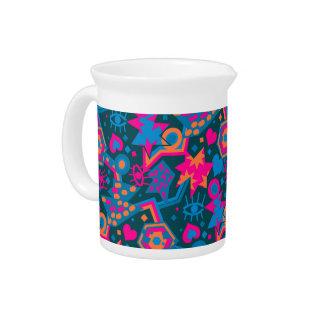 Eye heart pop art cool bright pink  pattern drink pitcher