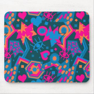 Eye heart pop art cool bright pink  pattern mouse pad
