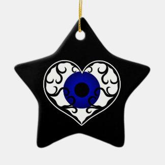 Eye heart star Double-Sided star ceramic christmas ornament