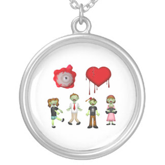 Eye Heart Zombies Silver Plated Necklace