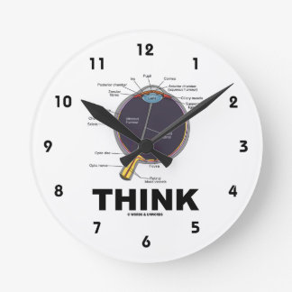 Eye (I) Think (Anatomical Humor) Round Clock
