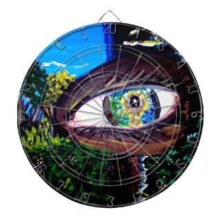 Eye In The Middle of the Forest Dartboard With Darts