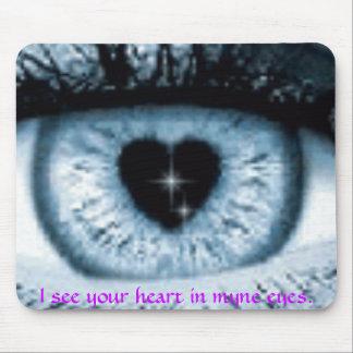 eye iris heart shape, I see your heart in myne ... Mouse Pad