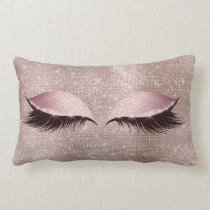 Eye Lashes Glitter Black Glam MakeUp Blush Sequin Lumbar Pillow