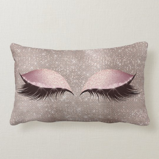 eye lashes glitter black glam makeup blush sequin lumbar pillow. Black Bedroom Furniture Sets. Home Design Ideas