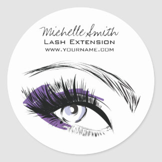 Eye long eyelashes Lash extension icon Classic Round Sticker