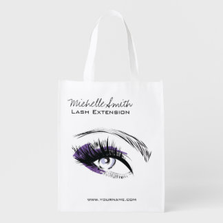Eye long eyelashes Lash extension icon Reusable Grocery Bag