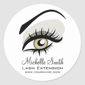 Eye long lashes Lash Extension company branding Classic Round Sticker