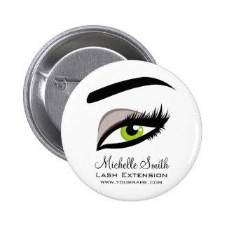 Eye long lashes Lash Extension company branding Pinback Button