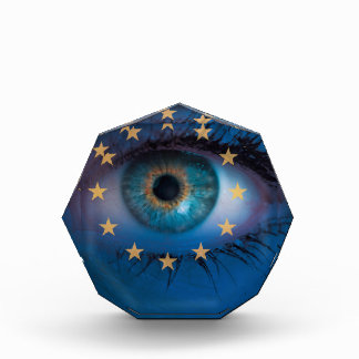 Eye looks through Europe flag background concept Acrylic Award