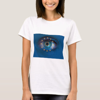 Eye looks through Europe flag background concept T-Shirt