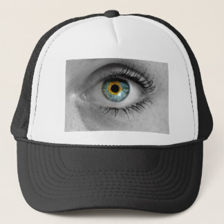 Eye looks to viewer concept macro trucker hat