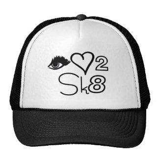 eye love 2 sk8 black trucker hat