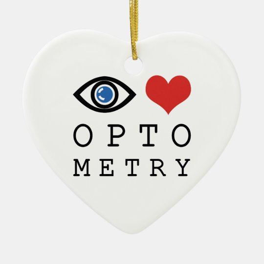 Eye Love Heart Optometry - Optometrist Eye Chart Ceramic Ornament