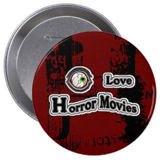 Eye Love Horror Movies! Red-Black Pinback Button