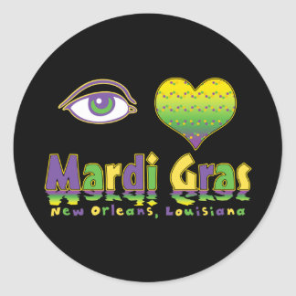Eye Love Mardi Gras Classic Round Sticker