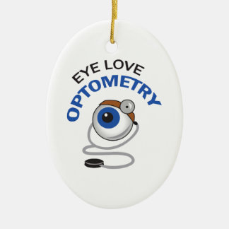 EYE LOVE OPTOMETRY Double-Sided OVAL CERAMIC CHRISTMAS ORNAMENT