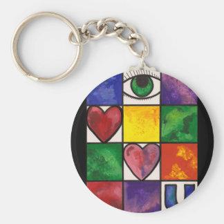 Eye Love U Basic Round Button Keychain