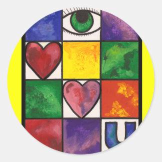 Eye Love U Classic Round Sticker