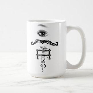 Eye Mustache Ewe Uh Question Mug