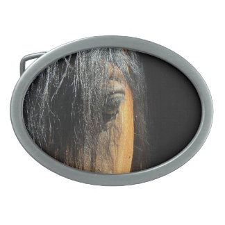 Eye of a Bay Horse Equine Photography Oval Belt Buckle